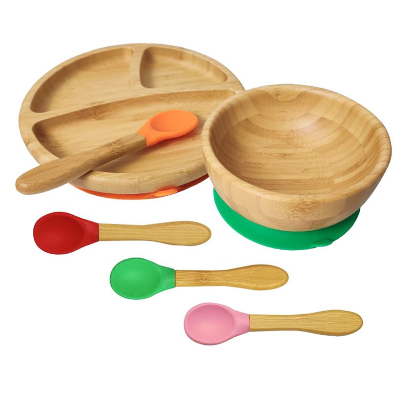 Healthy Baby Feeding Training Plate Bamboo Plate With Silicone Suction